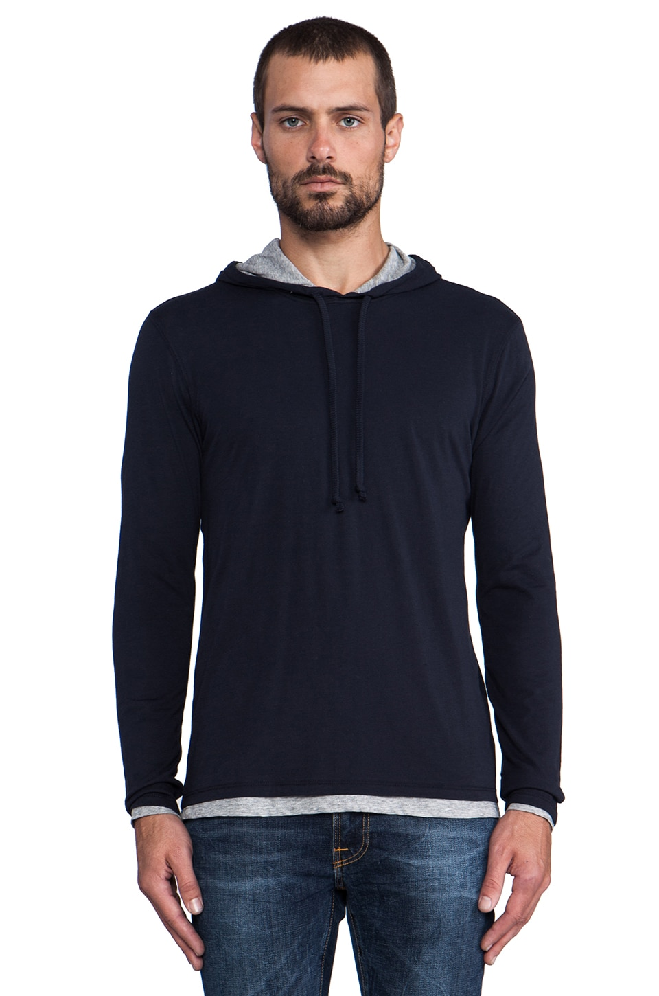 Vince Double Layer Hoodie in Coastal