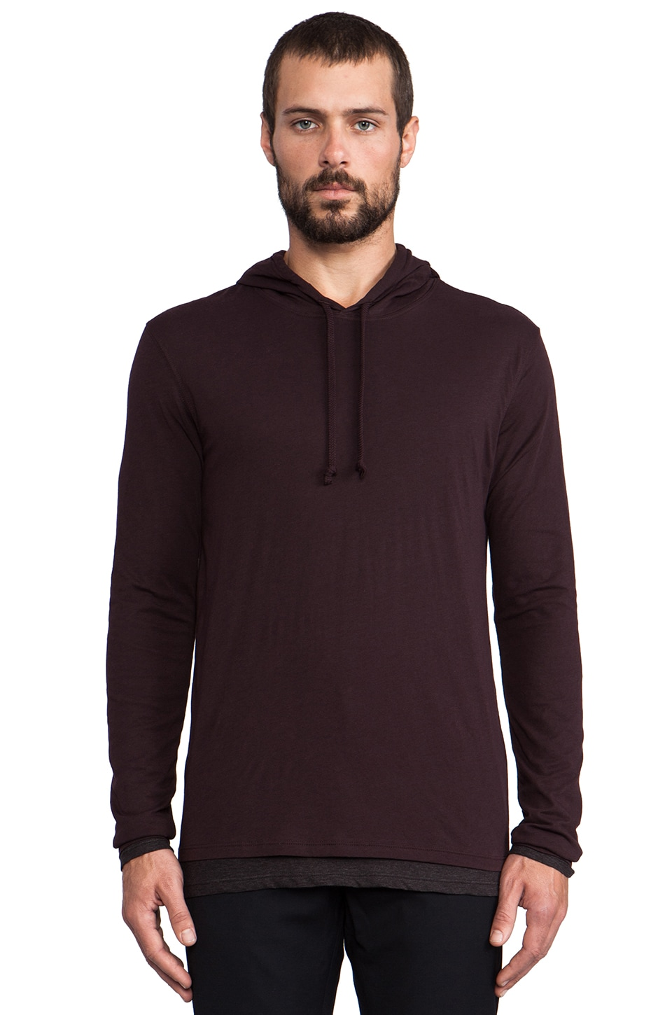 Vince Double Layer Jersey Hoodie in Heliotrope
