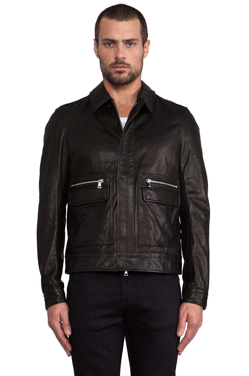Vince Leather Patch Pocket Bomber in Black