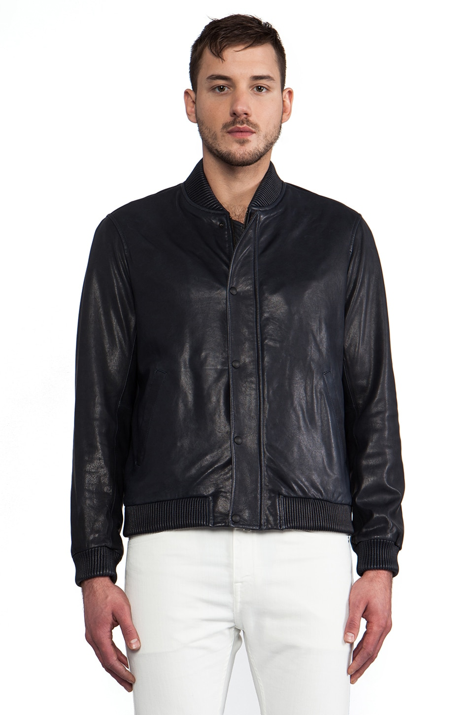 Vince Leather Bomber in Blue Birch