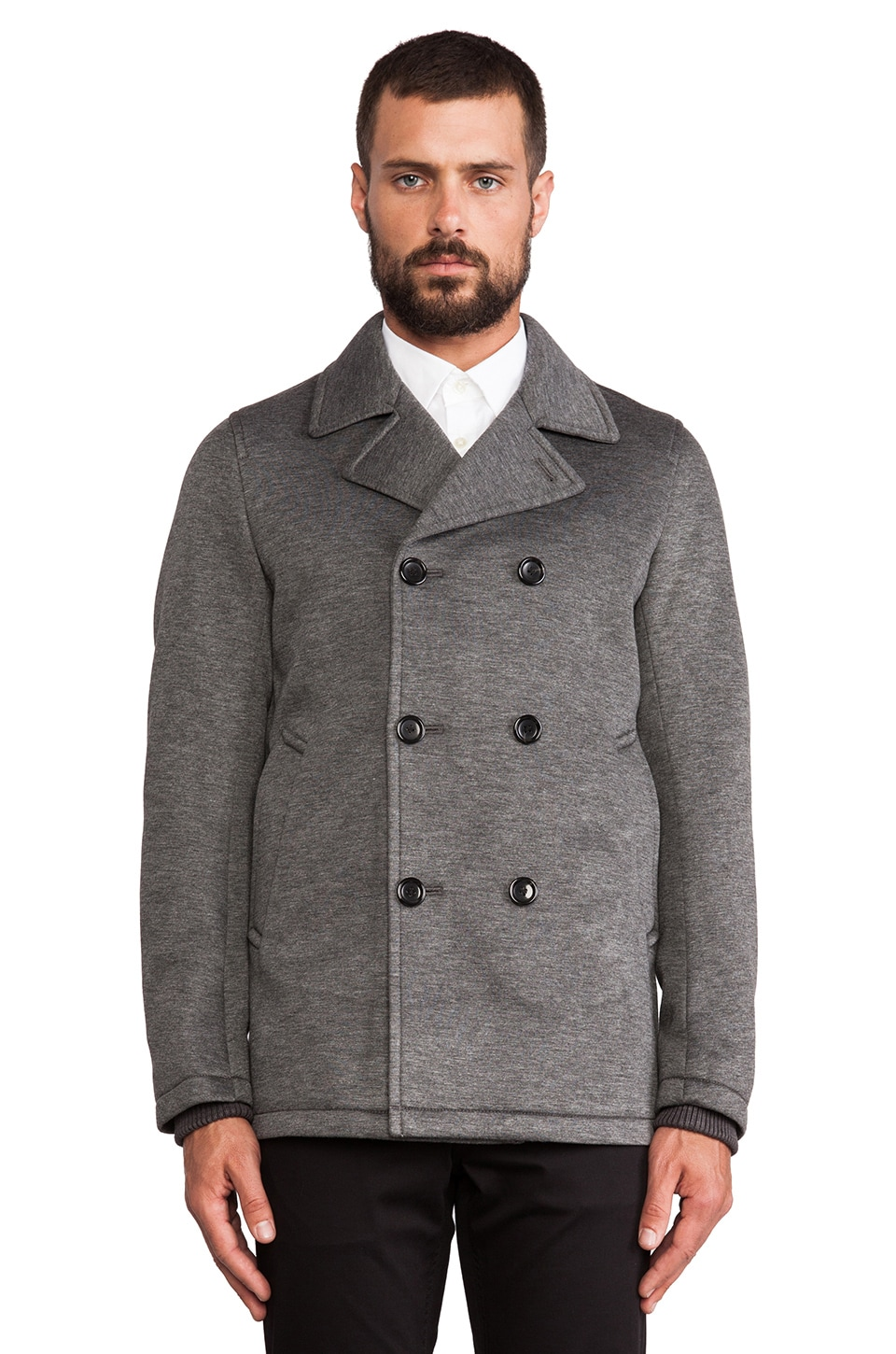 Vince Neoprene Peacoat in Heather Grey