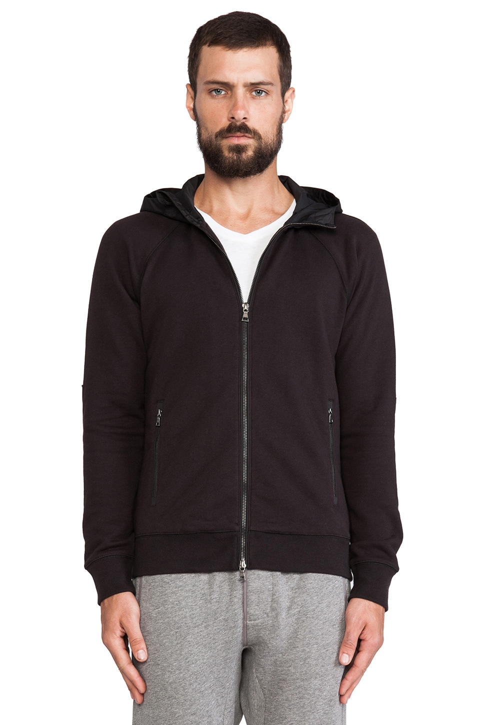 Vince French Terry & Nylon Hoodie in Black