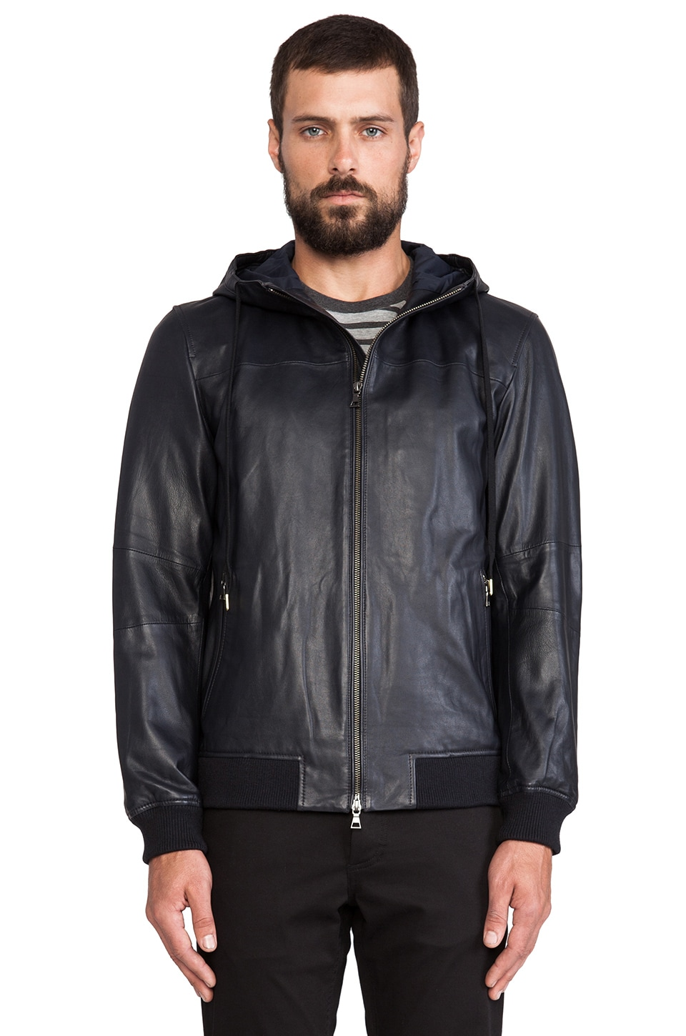 Vince Hooded Leather Jacket in Coastal
