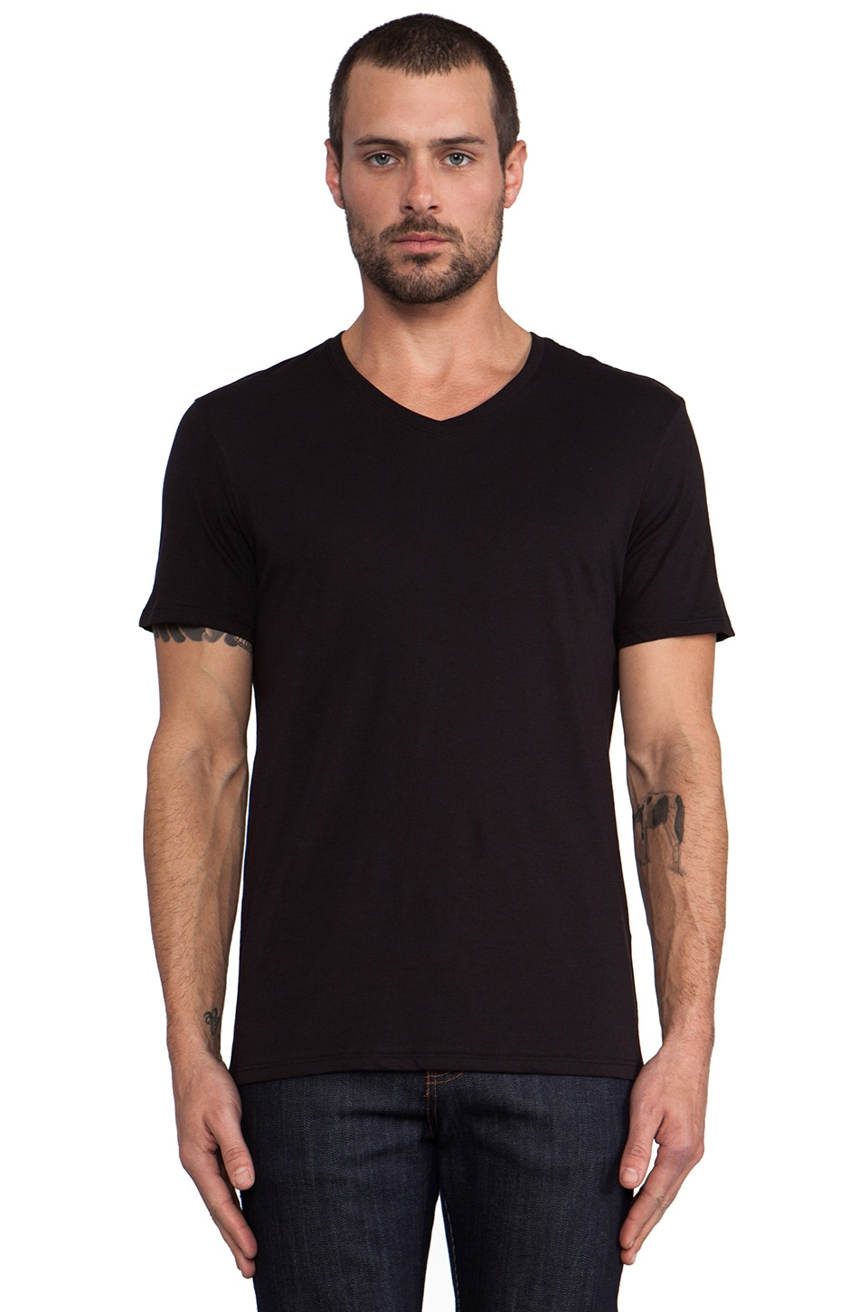 Vince Favorite Jersey V-Neck in Black