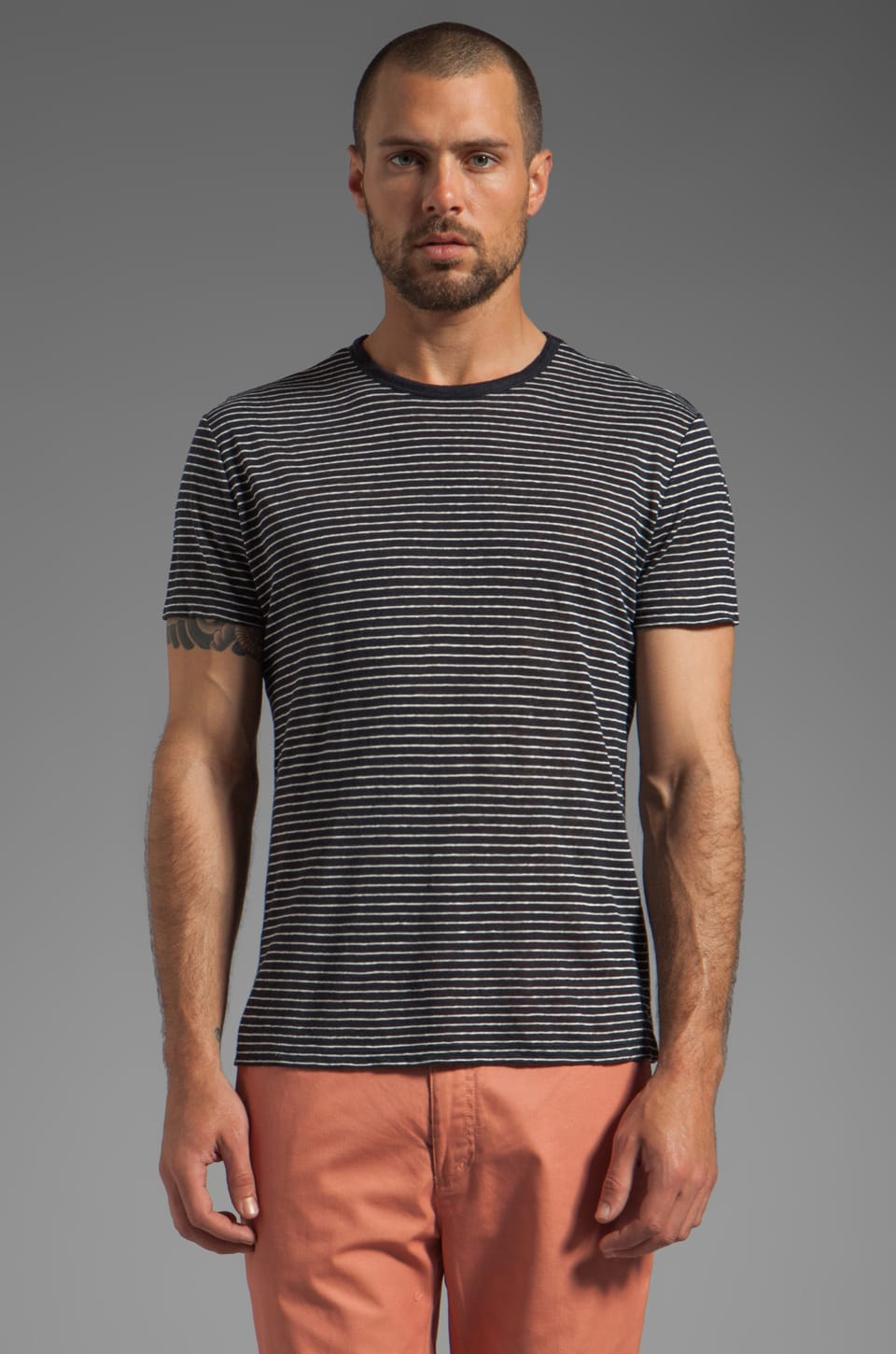 Vince Striped Linen Tee in Coastal/Ecru