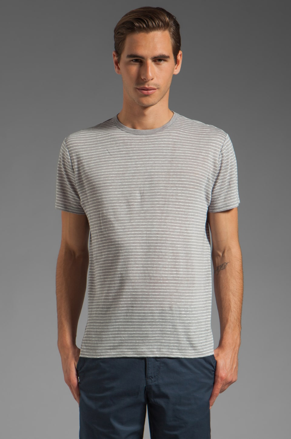 Vince Striped Linen Tee in Sliver Fin/Ecru