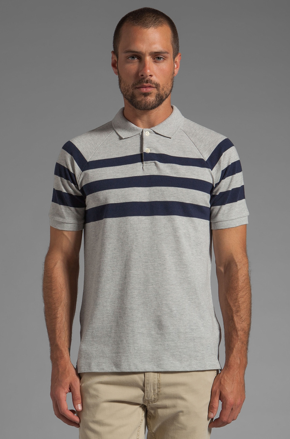Vince Pique Striped Polo in Heather Steel