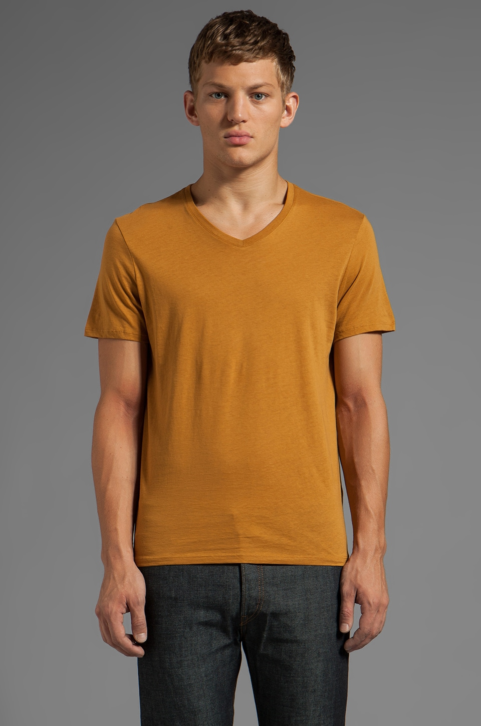 Vince Favorite Jersey V-Neck in Antique Brass