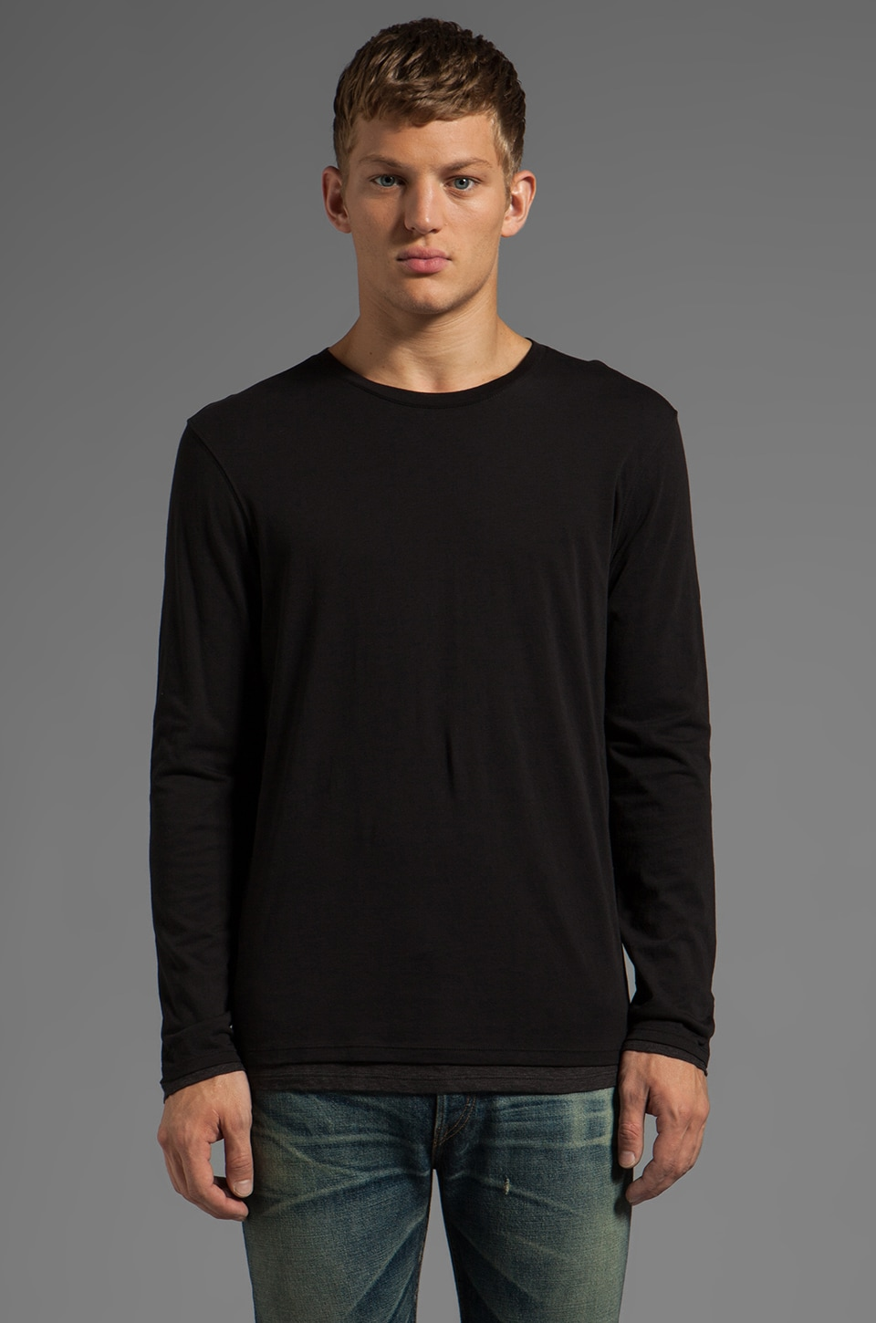 Vince Long Sleeve Double Layer Crew in Black