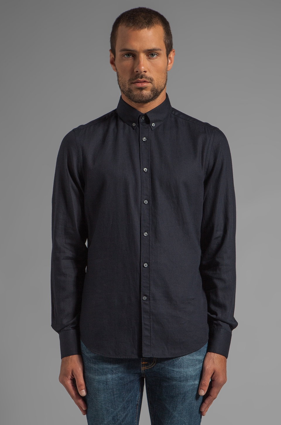 Vince Wool Blended Solid Shirting in Coastal