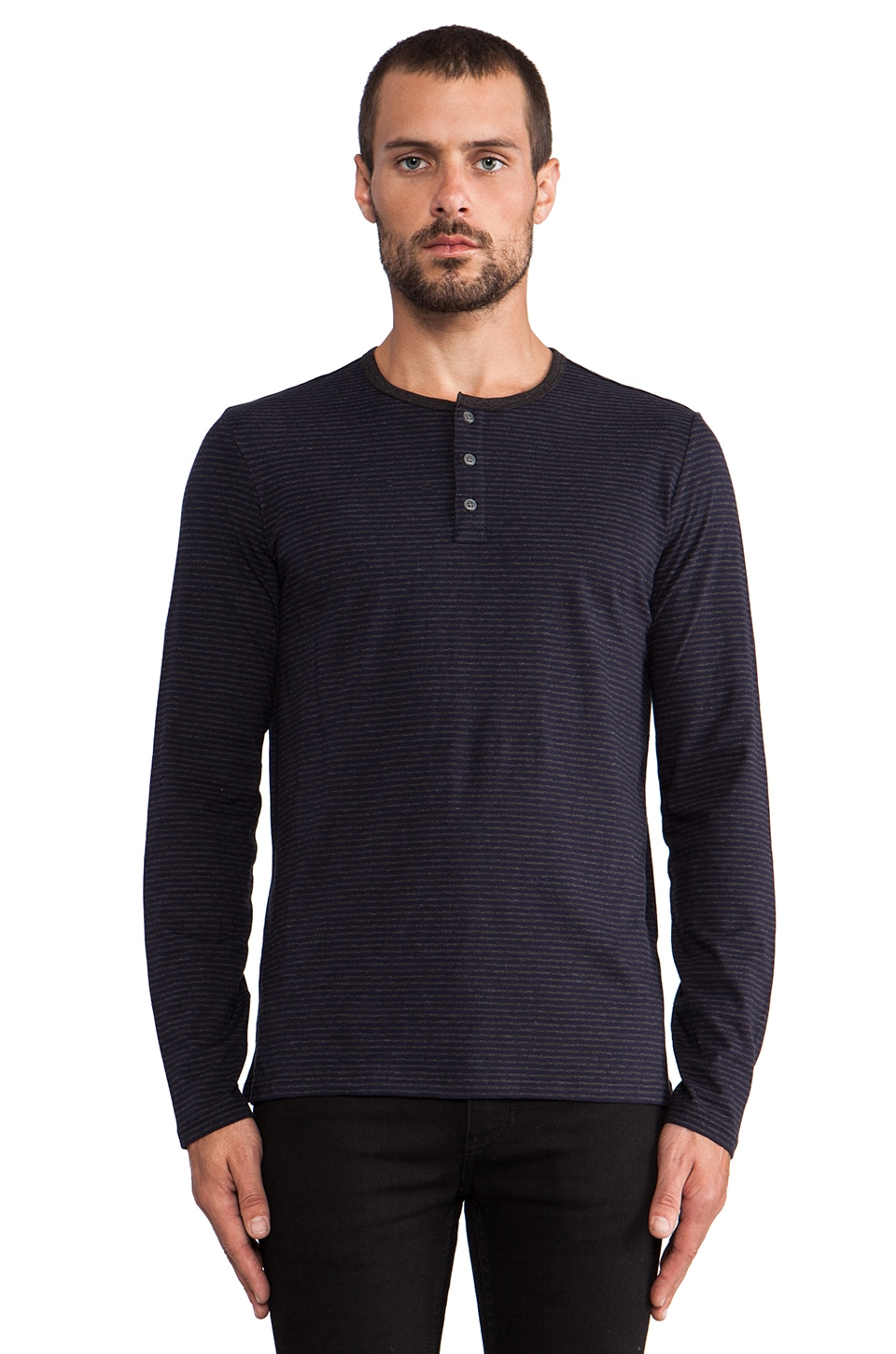 Vince Favorite Jersey Striped Henley in Coastal