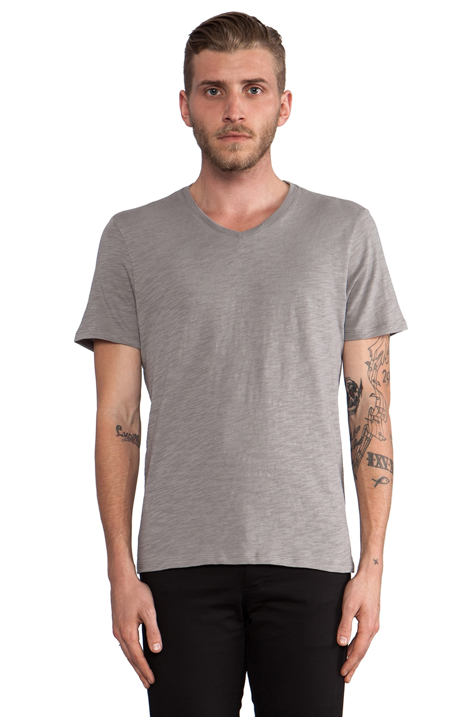 Vince Slub V-Neck in Greyhound