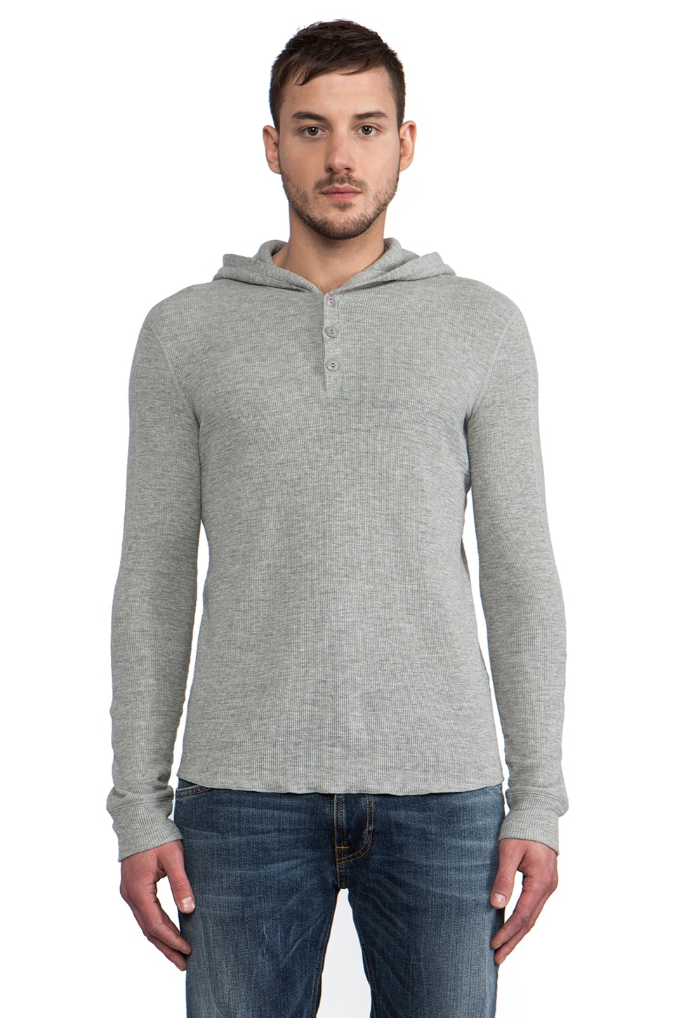 Vince Thermal Hooded Henley in Heather Steel