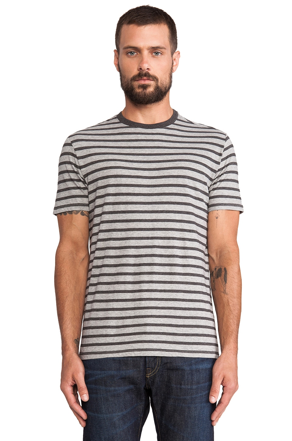 Vince Favorite Jersey Striped Tee in Heather Steel