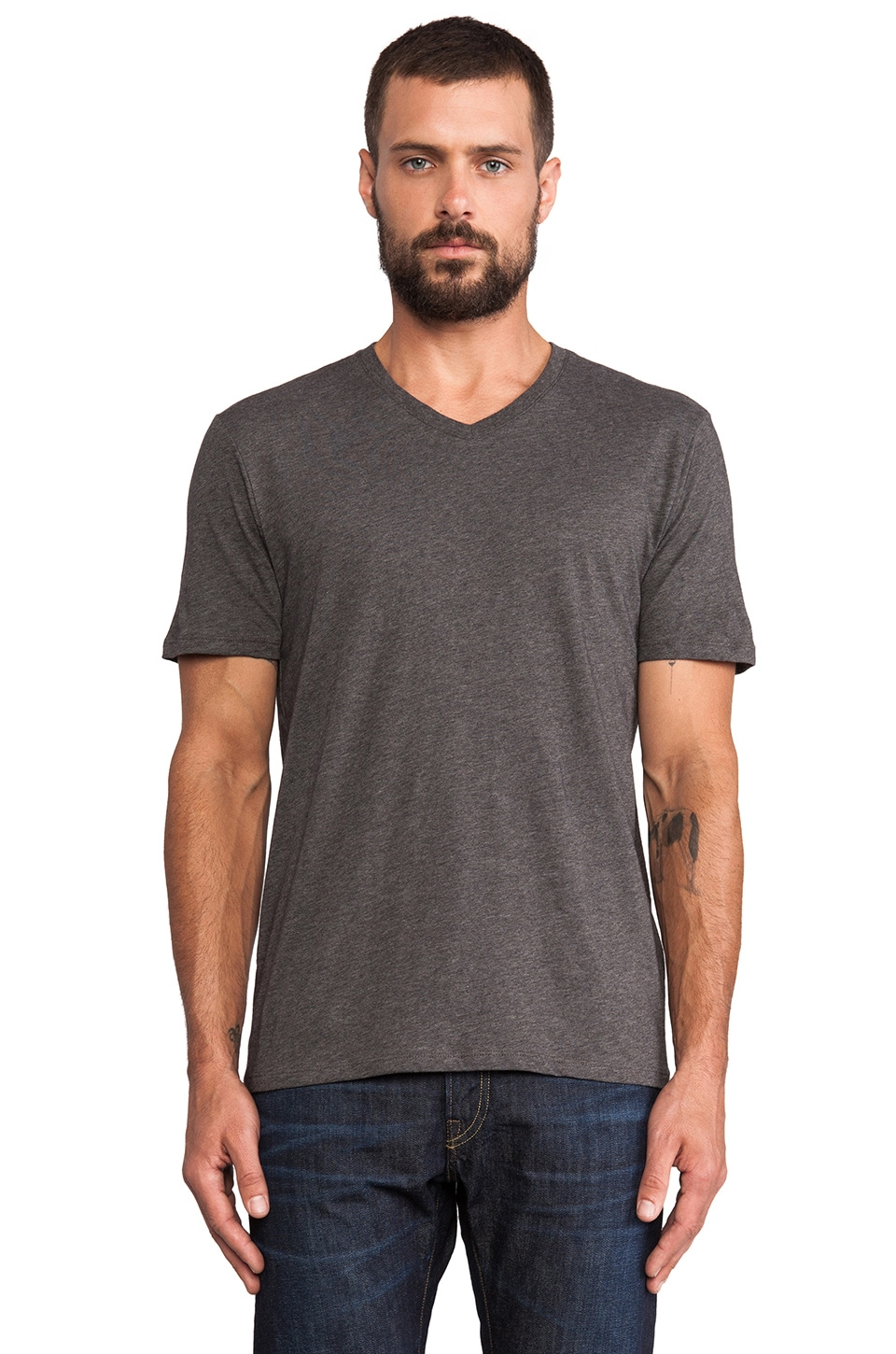 Vince Favorite Jersey V-Neck in Heather Carbon