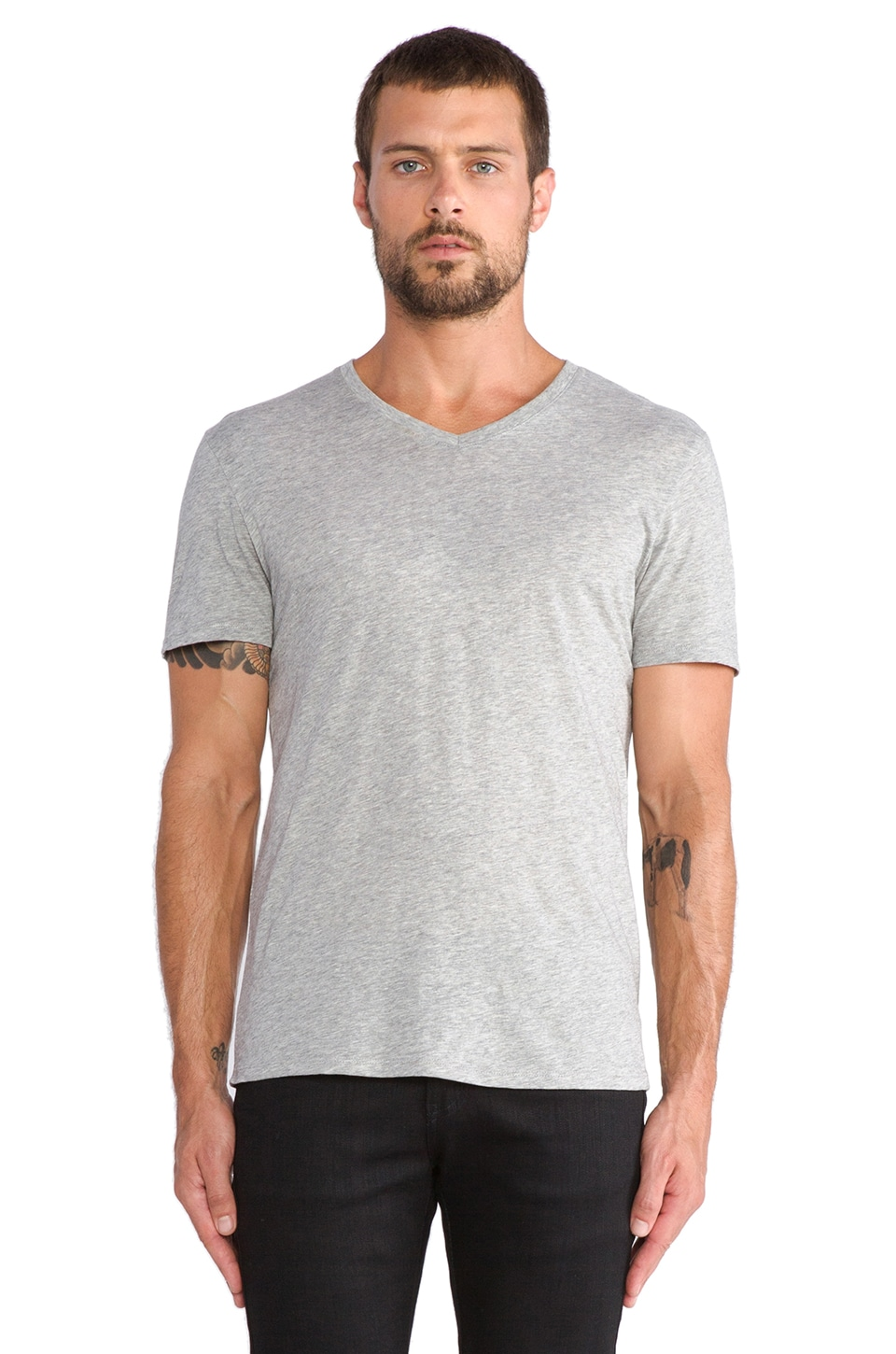 Vince Favorite Jersey V-Neck in Heather Steel