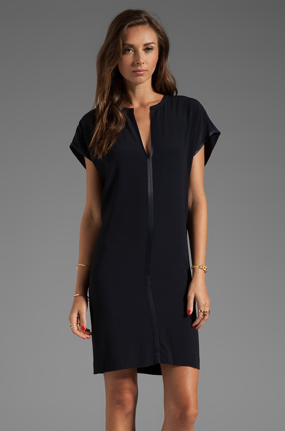 Vince Satin Split Neck Dress in Coastal