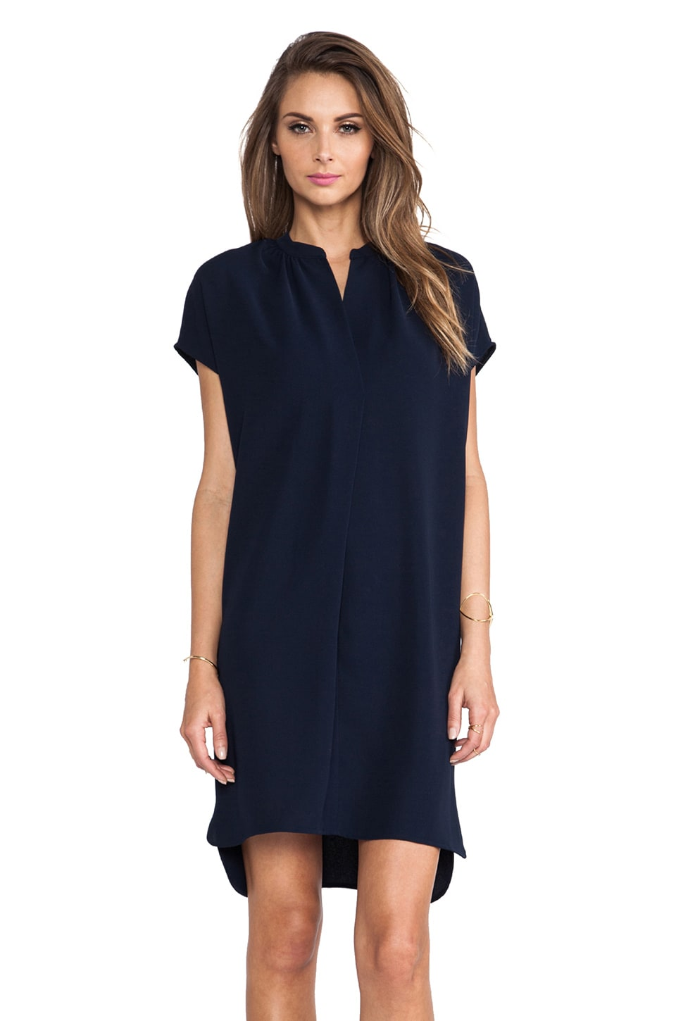 Vince Popover Dress in Deepest Indigo