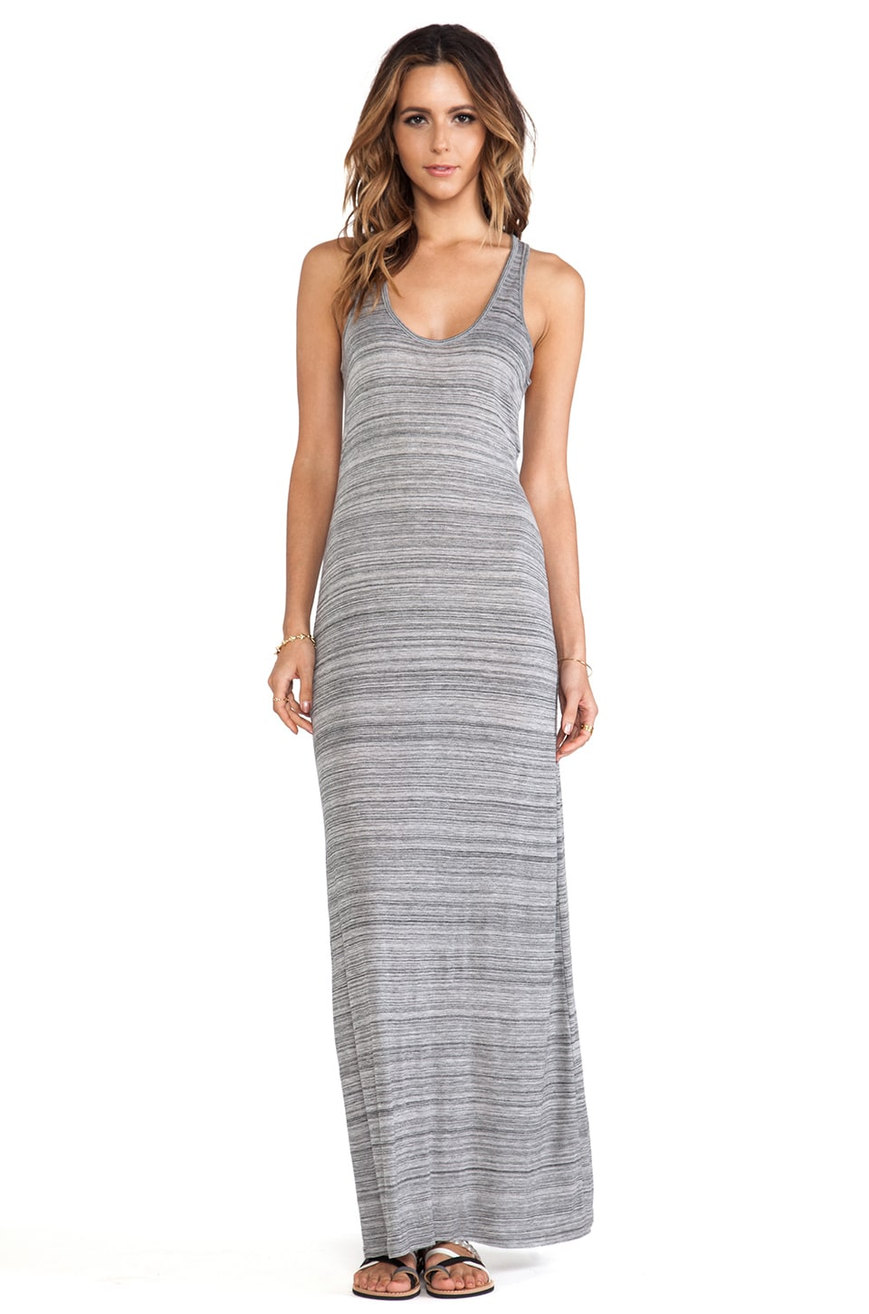 Vince Razer Back Maxi Dress in Light Grey & Black