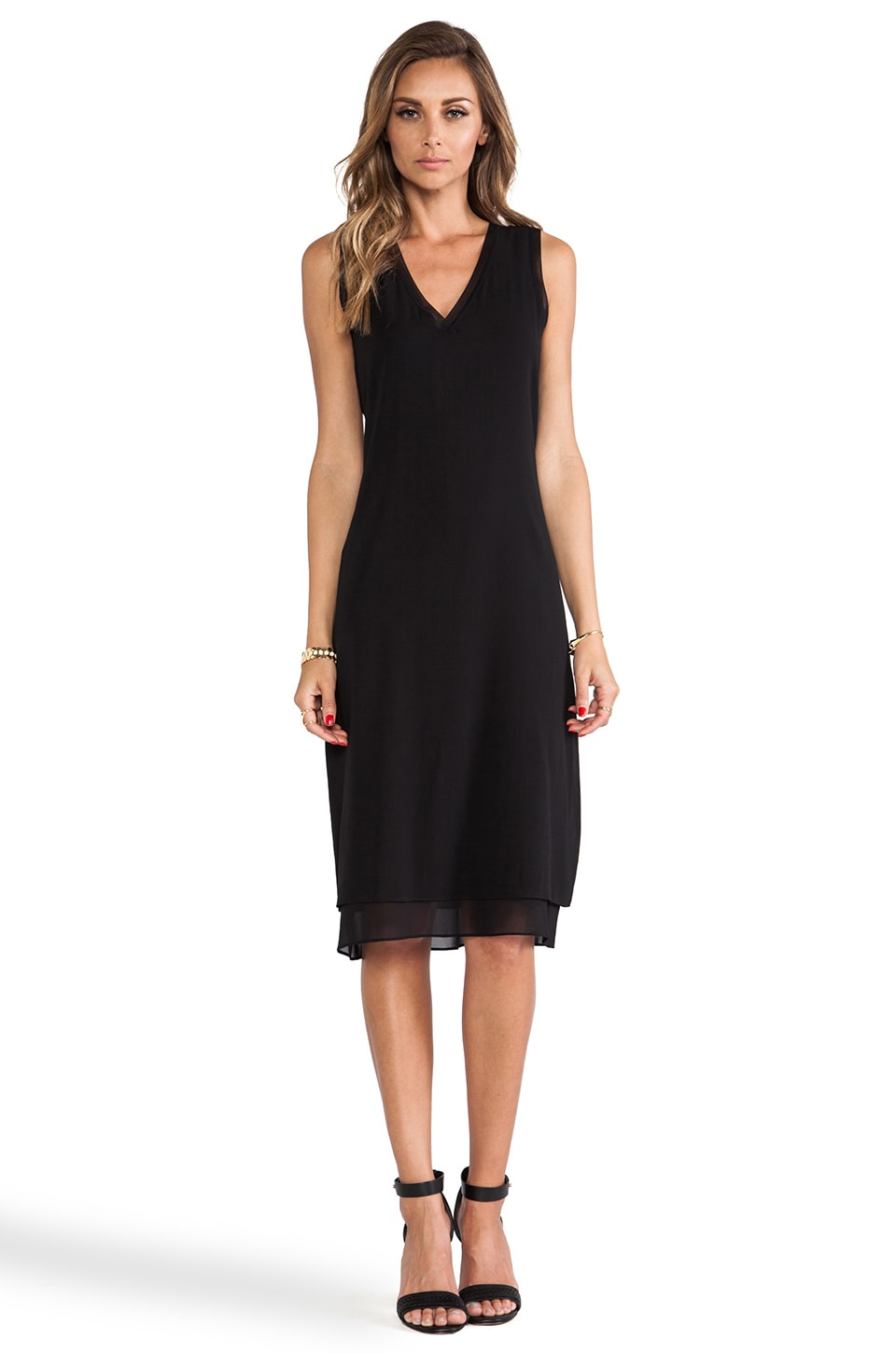 Vince V-Neck Dress in Black