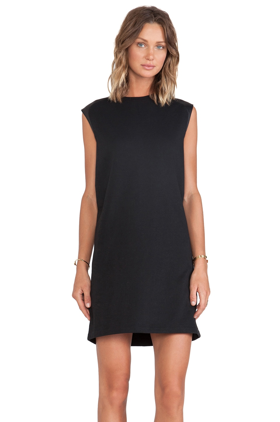 Vince Leather Shoulder Dress in Black