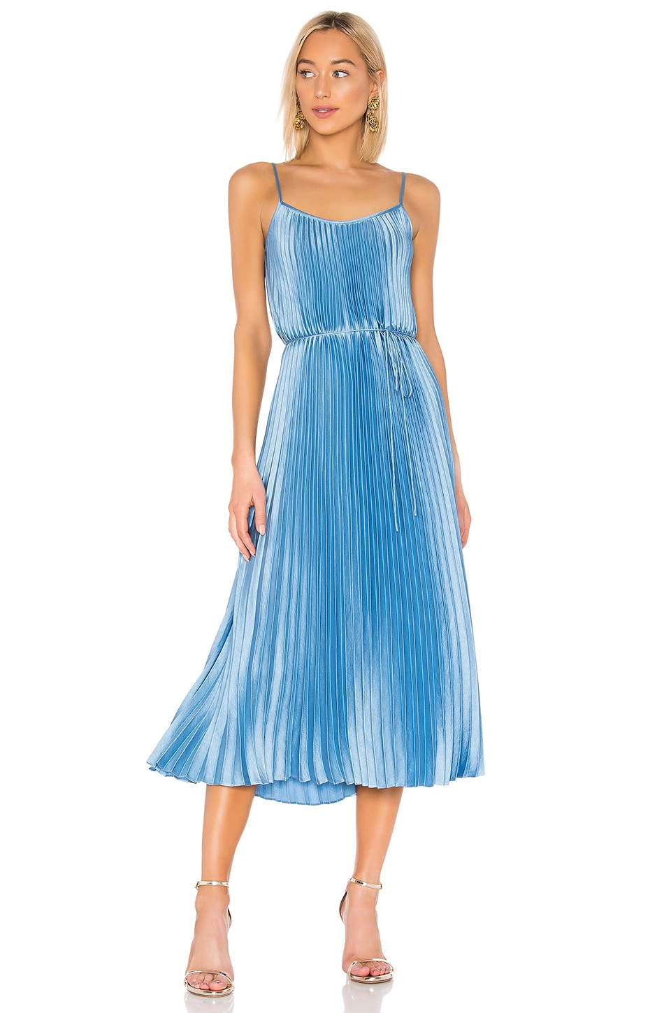 Vince Pleated Cami Dress in Blue Pumice