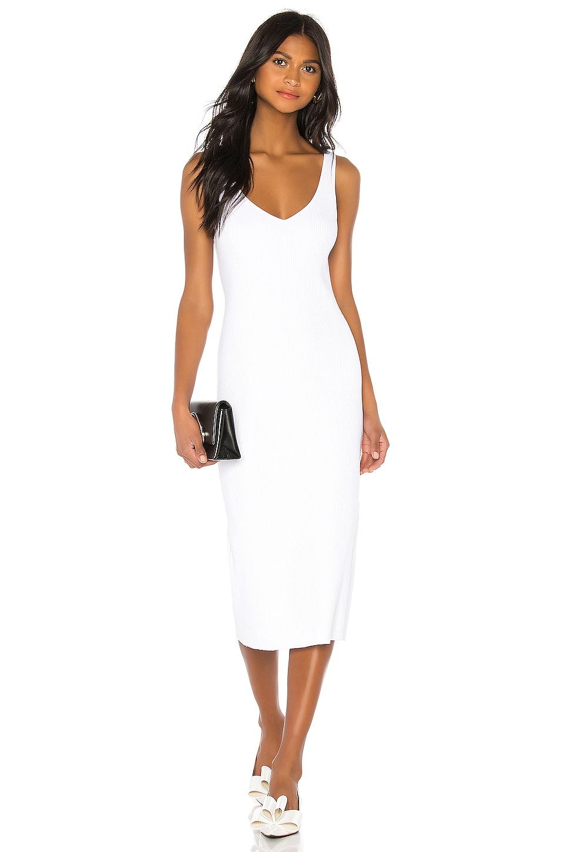Vince Rib Double V Neck Dress in Optic White