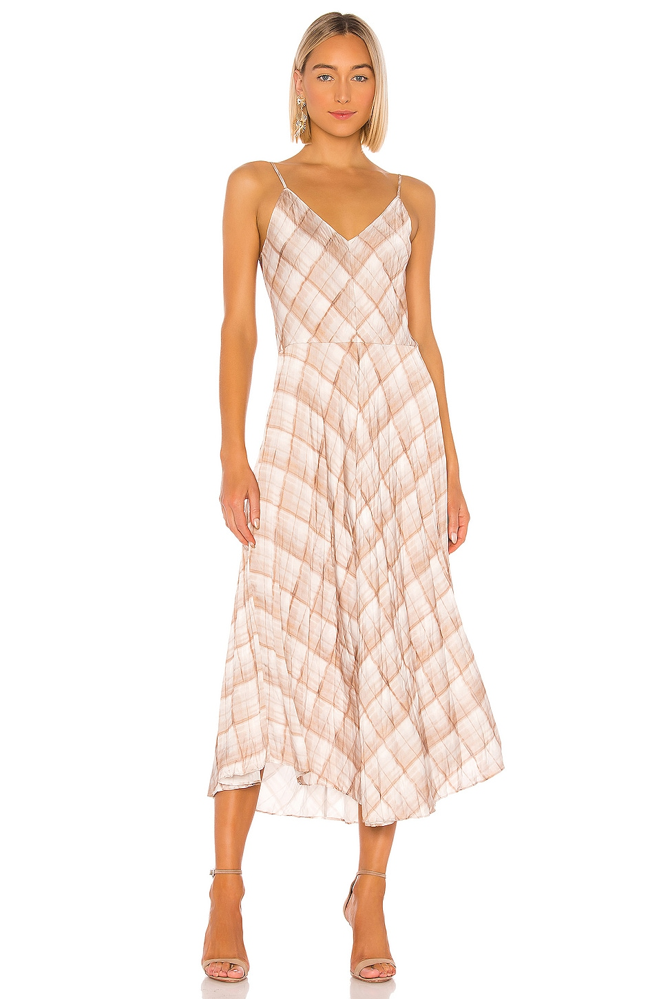 Vince Hazy Plaid Cami Dress in Sun Taupe