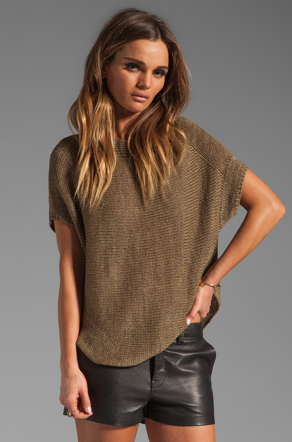 Vince Short Sleeve Boat Neck Sweater in Sage