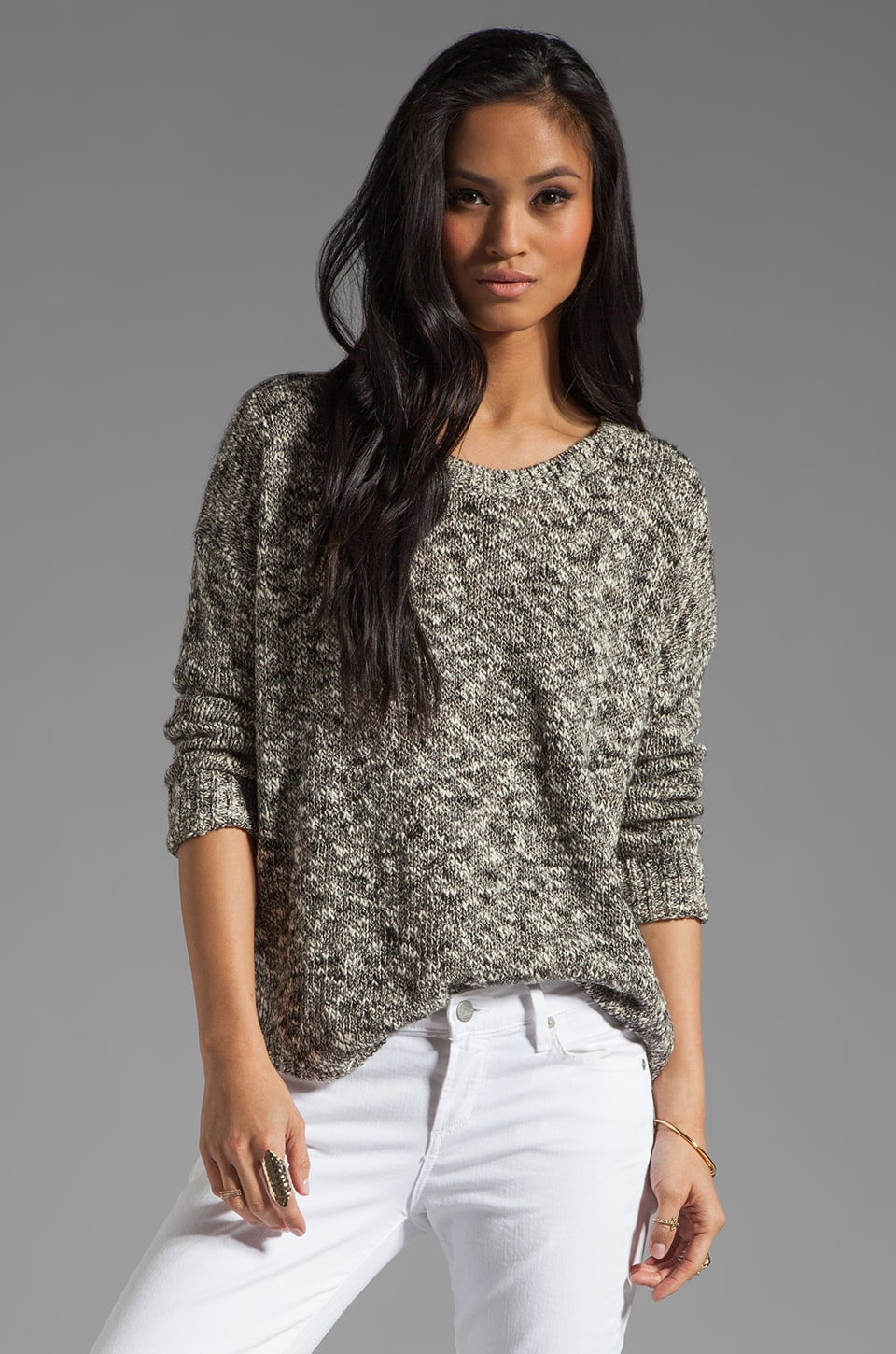 Vince Thick and Thin Tweed L/S Shirt Tail Sweater in Granite