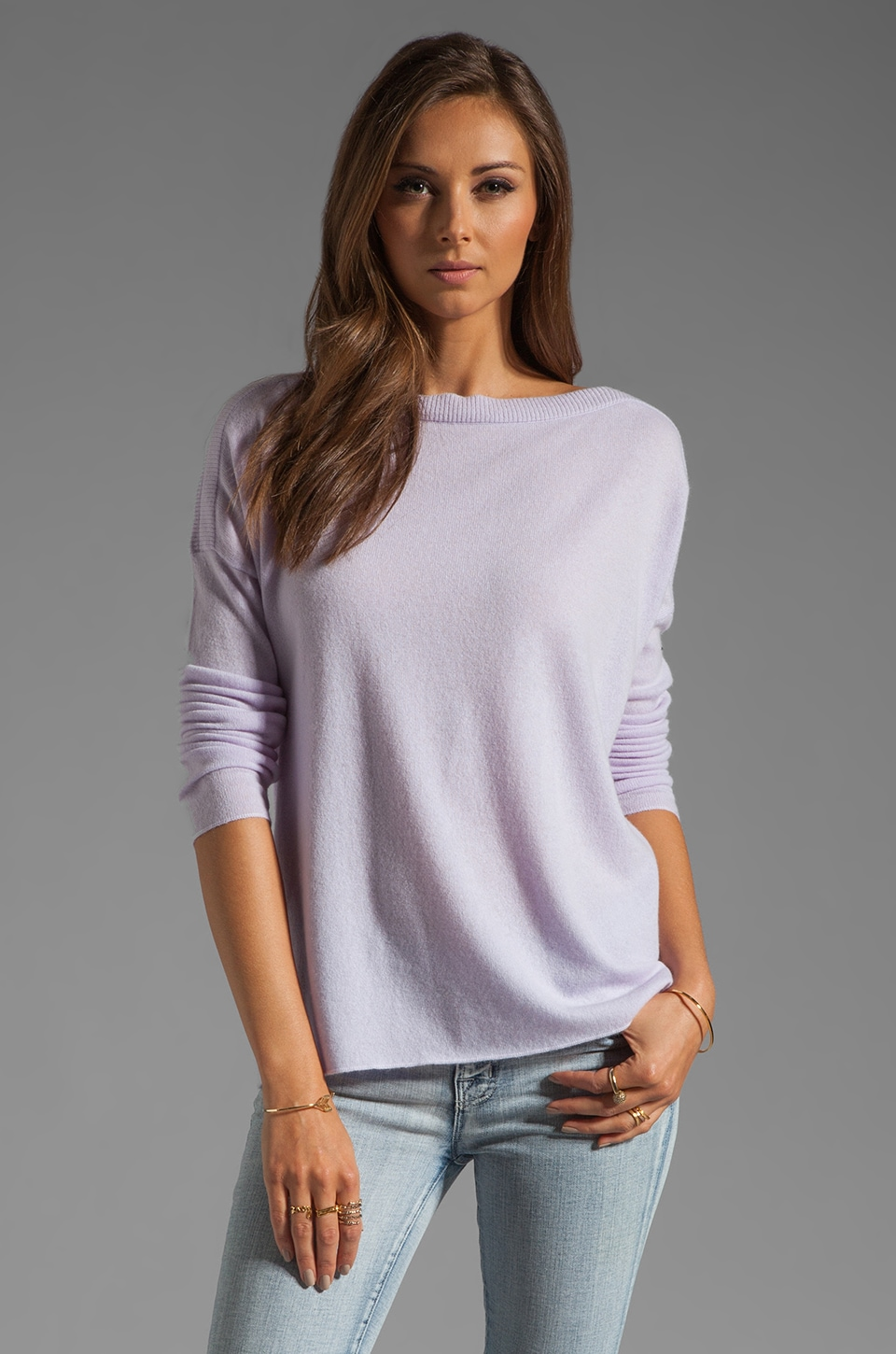 Vince Rib Insert Sweater in Lilac