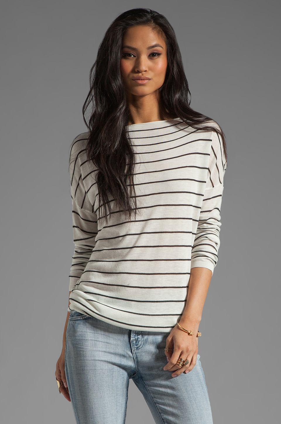 Vince Striped Boatneck Sweater in Milk/Black