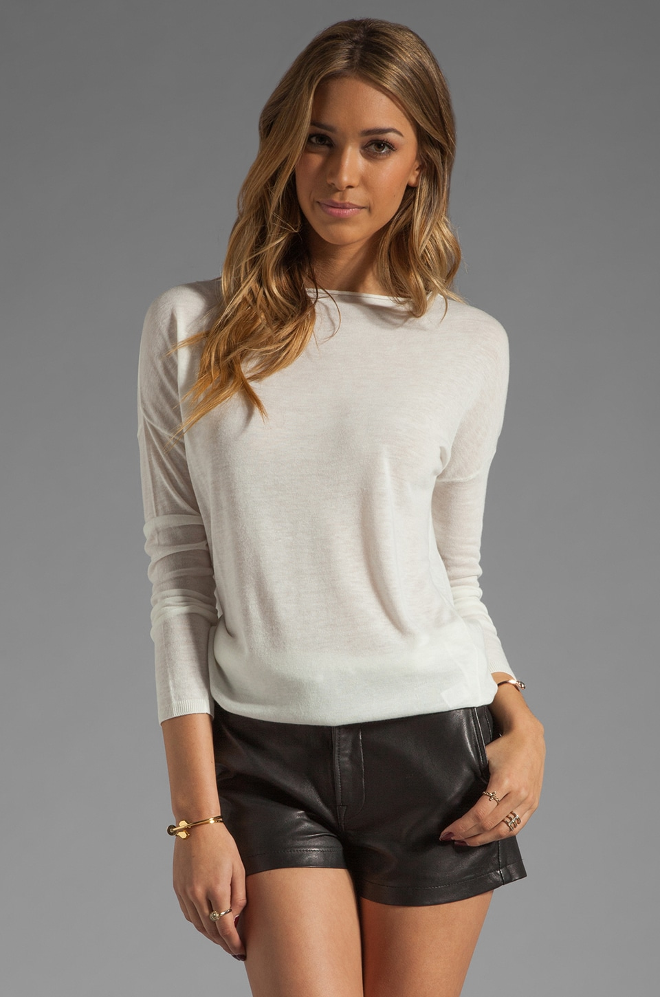 Vince Solid Boatneck Sweater in Milk