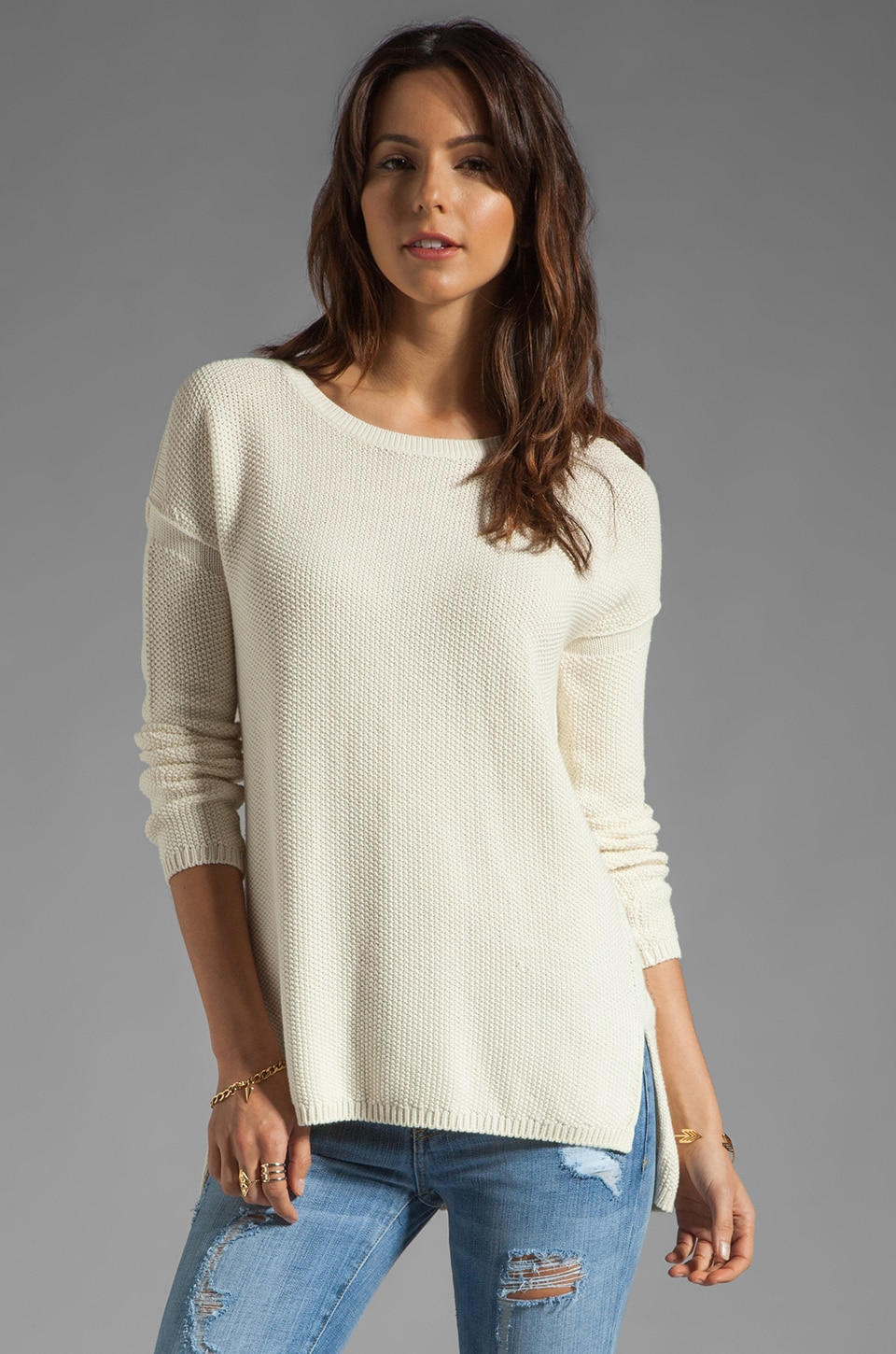 Vince Seed Stitch Stretch Crew Sweater in Cream