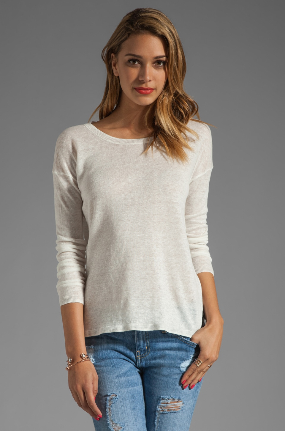 Vince Linen Sweater in White