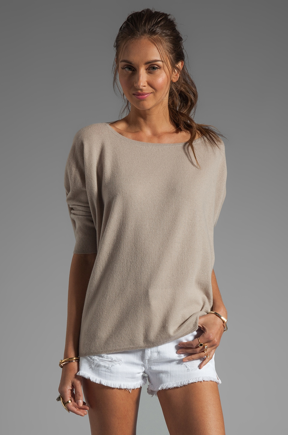 Vince 100% Cashmere Popover Sweater in Sesame