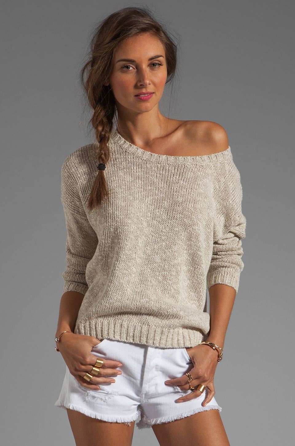 Vince Long-Sleeve Square Sweater in Natural