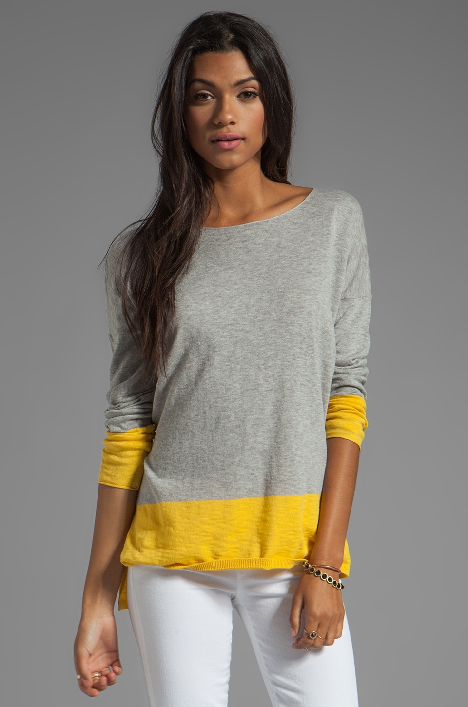 Vince Banded Colorblock Sweater in Heather Grey and Canary