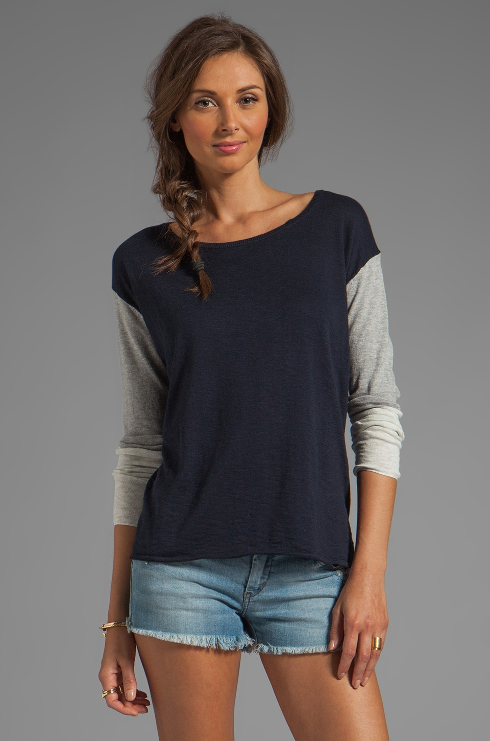 Vince Tri-Color Sweater in Heather Grey/Cloud and Coastal