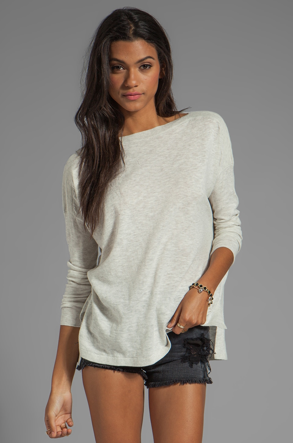 Vince Ribbed Shoulder Slub Sweater in Heather Cloud