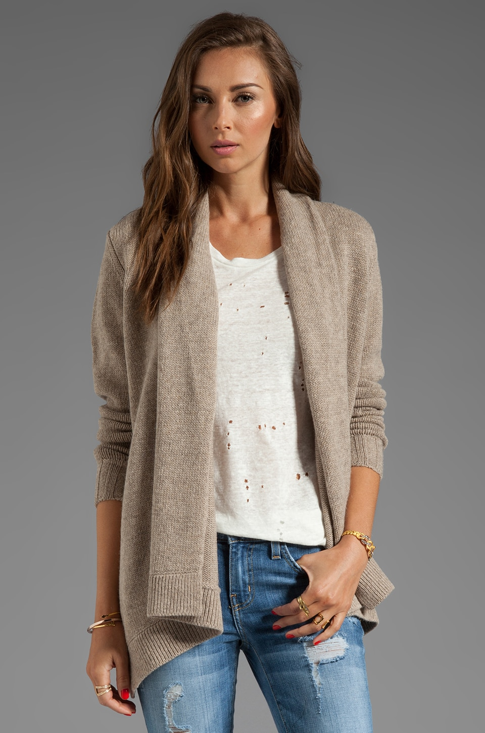 Vince Drape Sweater Jacket in Heather Oatmeal
