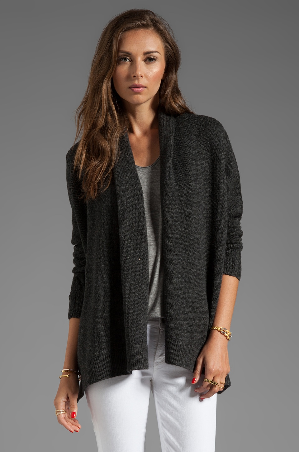 Vince Drape Sweater Jacket in Heather Carbon