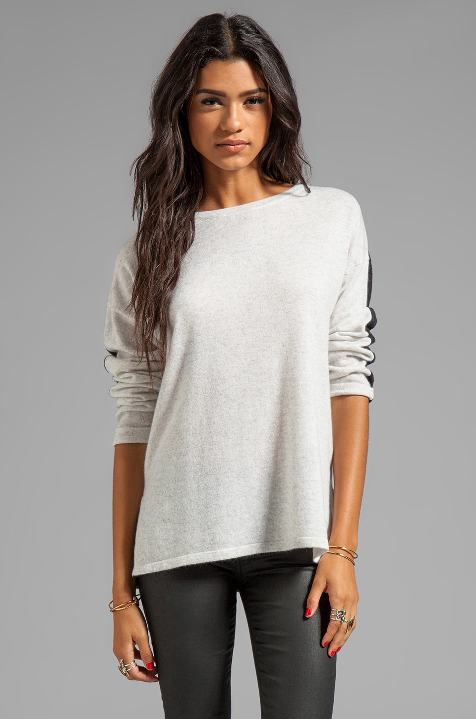 Vince Cashmere Contrast Crew in Heather Cloud