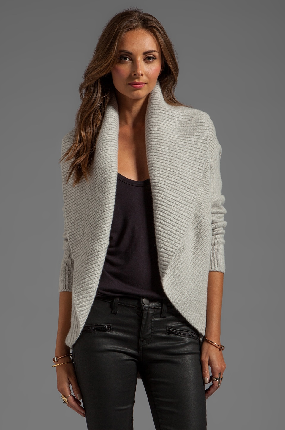 Vince Circle Cardigan in Pebblestone