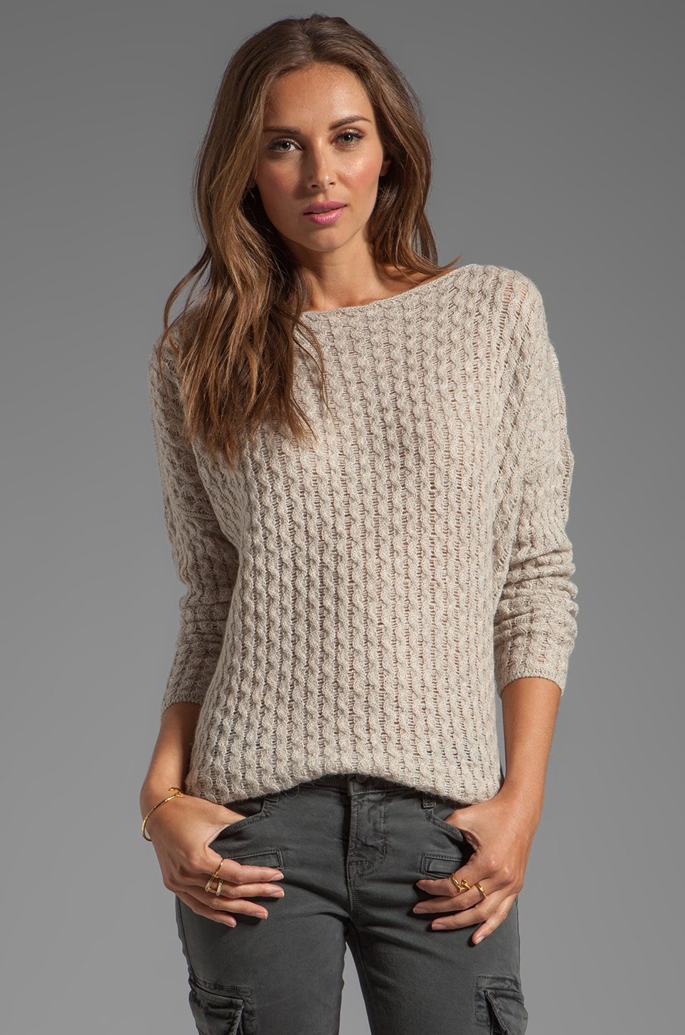 Vince Mini Cable Shirt Tail Sweater in Almondine