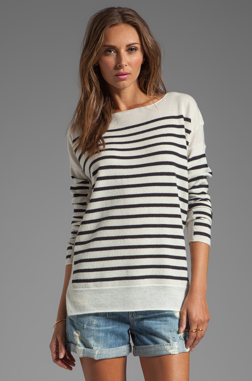 Vince Cashmere Linked Striped Boatneck in Winter White/Coastal