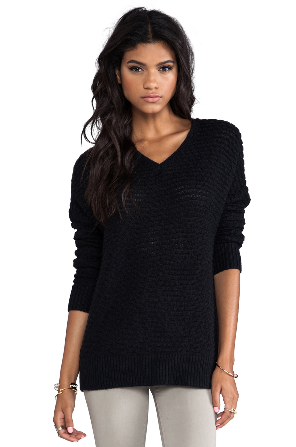 Vince Textured V-Neck Sweater in Black