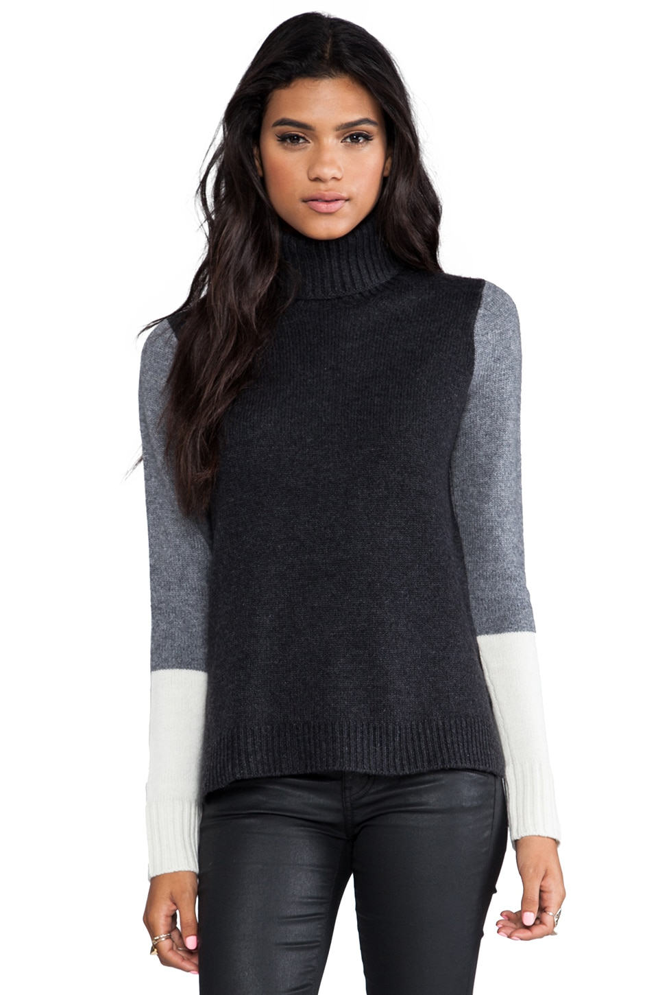 Vince Tri Color Block Turtleneck in Charcoal Combo