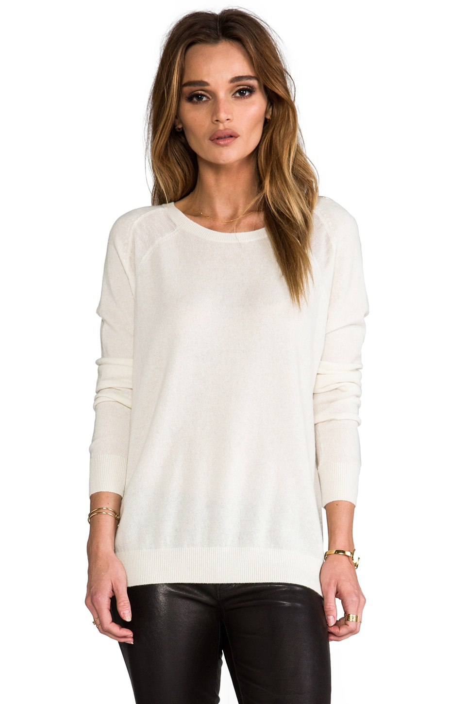 Vince Sheer Panel Raglan in Winter White