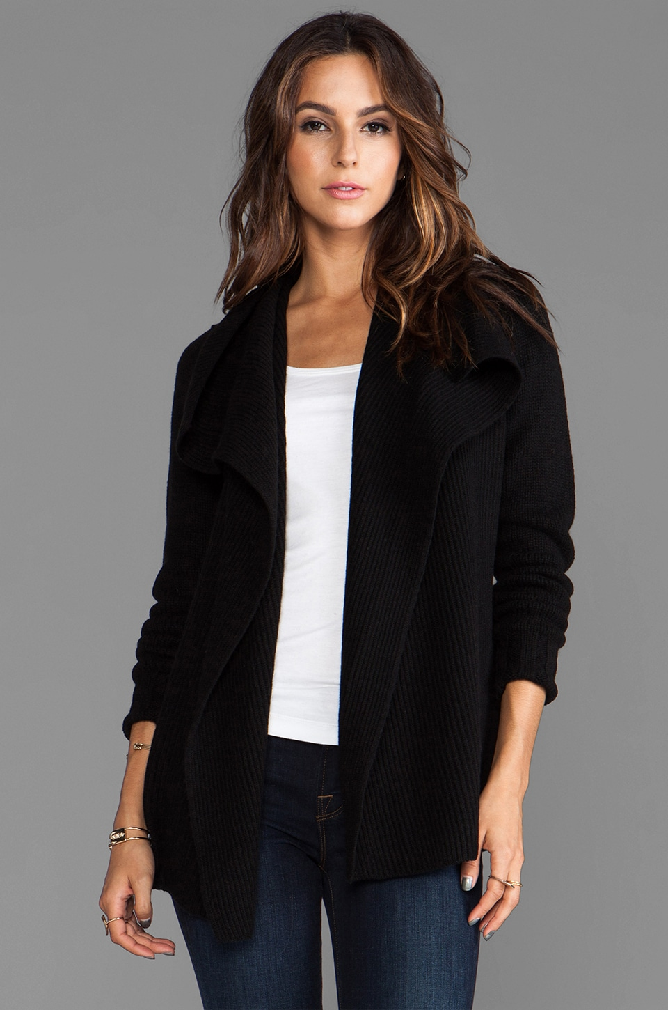 Vince Drape Front Cardigan in Black